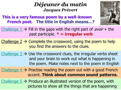 Dejeuner du Matin (Jacques Prevert) - lots of activities