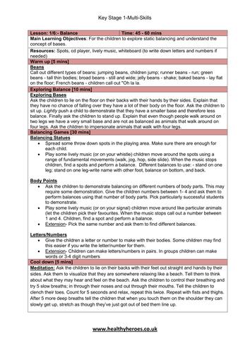 Key Stage 1 Multi Skill Lesson Plans