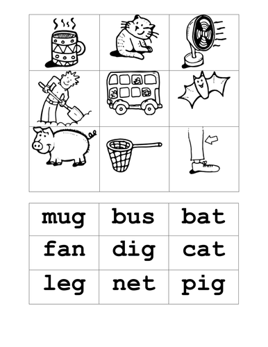 Match CVC words and pictures