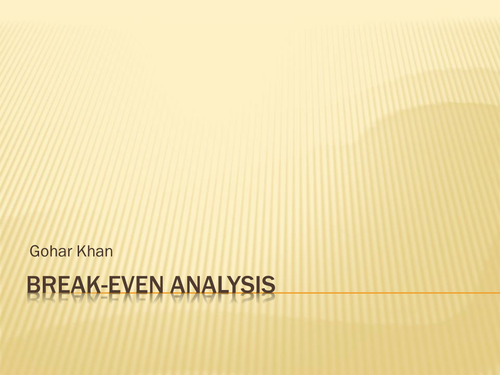 Break-Even Analysis Handbook + Presentation