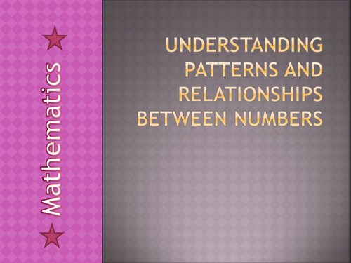 Relationships and Rules between numbers for very weak ks4