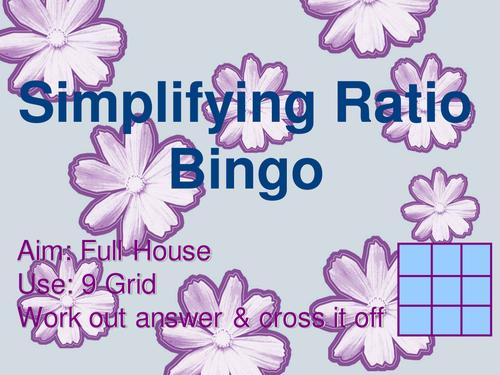 Bingo games on fractions, rounding, ratio, powers.