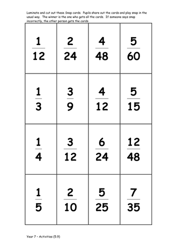 Equivalent fractions Snap Game. KS3-4 Ages 11-16 by MrBartonMaths ...
