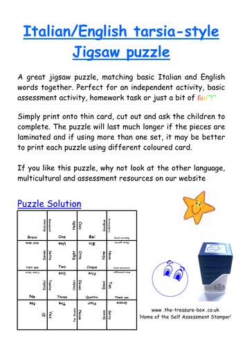 Italian English MFL jigsaw puzzle