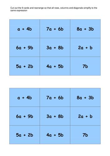 Algebraic Magic Squares Activity By Mrbartonmaths Teaching