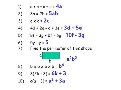 Misconceptions in Algebra Starter KS3 KS4 by MrBartonMaths – Ks3 Maths Algebra Worksheets