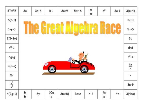 The great algebra race. Game KS3.