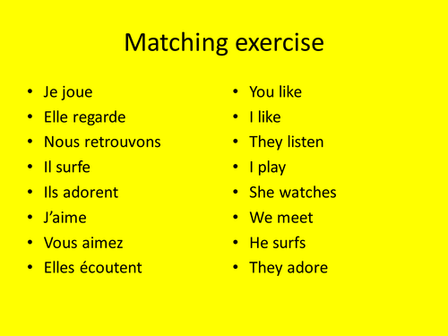le présent - regular -er verbs Year 8 by RandaM - Teaching ...