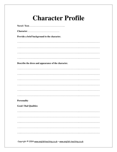 Printables Character Profile Worksheet character profile by tesenglish teaching resources tes