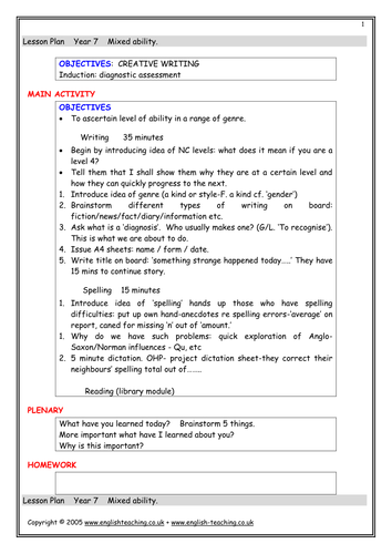 Creative Writing Yr7 by TesEnglish | Teaching Resources