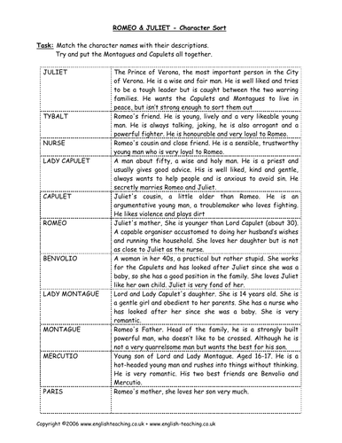Romeo Juliet By Shakespeare Card Sort Activity By