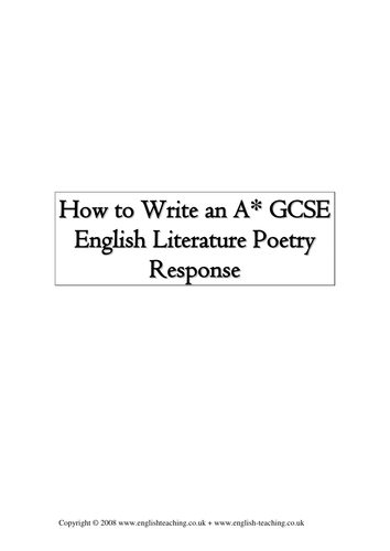 How to write an A* GCSE poetry response
