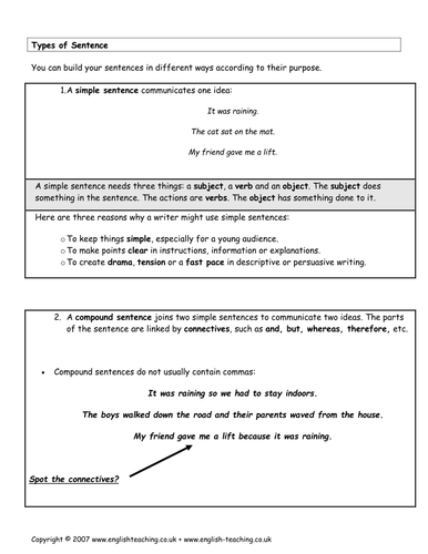 Sentences Simple Compound And Complex By Tesenglish