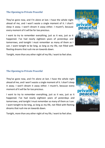 sow private peaceful by michael morpurgo by y teaching private peaceful