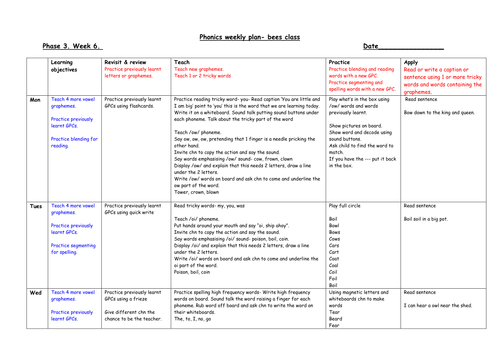 Letters And Sounds Phase  Weekly Planning Sheets