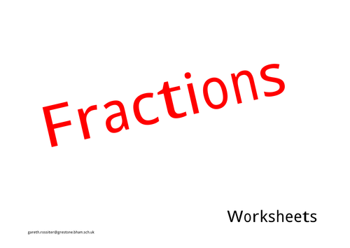 Fractions worksheet Y3 plus