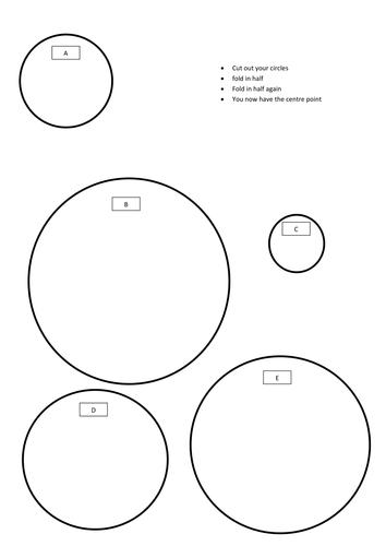 Radius, Diameter and Circumference of a circle.
