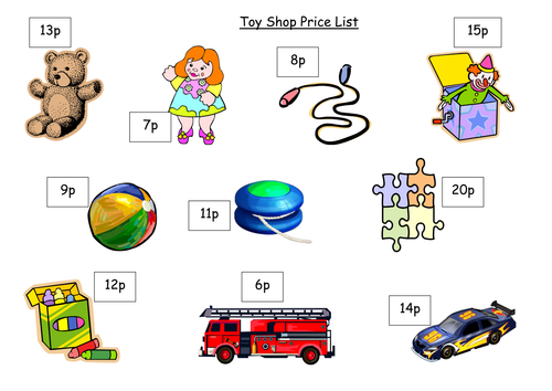 toy shop price list by must be crazy teaching resources tes. Black Bedroom Furniture Sets. Home Design Ideas