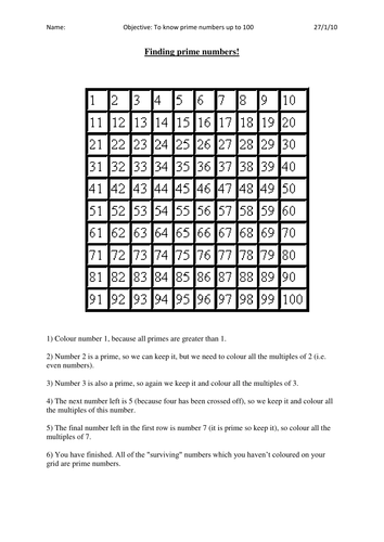 discovering prime numbers by bonniemarieone - Teaching Resources - TES