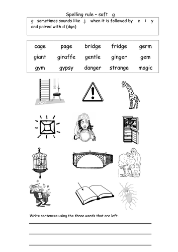 Worksheets Soft G Words Worksheets words with soft g by coholleran teaching resources tes