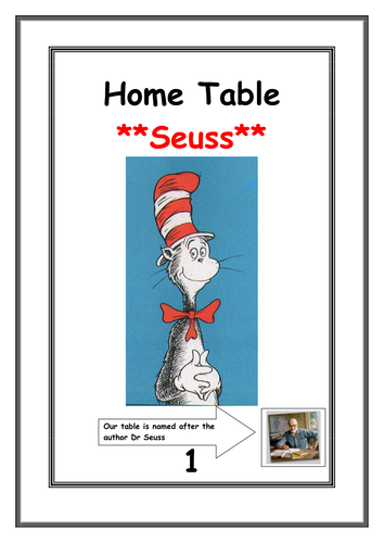 A4 table names with a childrens author feel