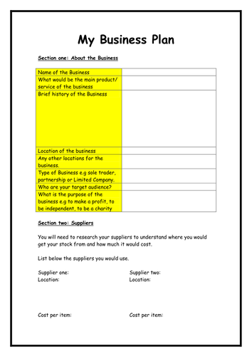 Business plan template by flaink teaching resources tes accmission