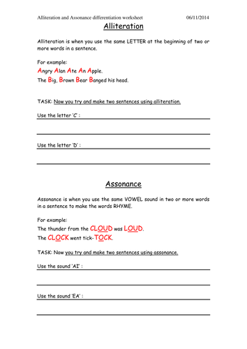 Simple Alliteration and Assonance Worksheet by c.southern ...