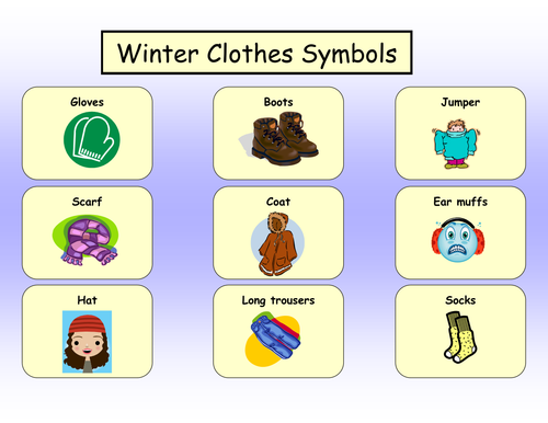 Winter Clothes Symbols By Lbrowne Teaching Resources Tes