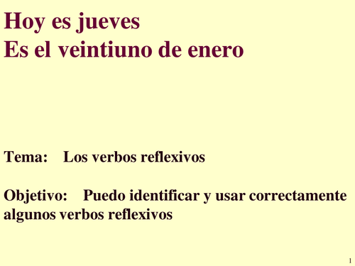 PowerPoint to teach conjugation of reflexive verbs