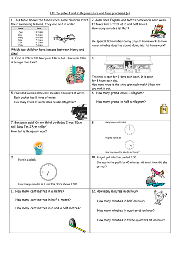1 and 2 step time and measure problems Y4 by clangercrazy ...