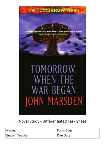tomorrow when the war began by john marsden by ritski teaching   tomorrow when the war began by john marsden by ritski teaching resources tes