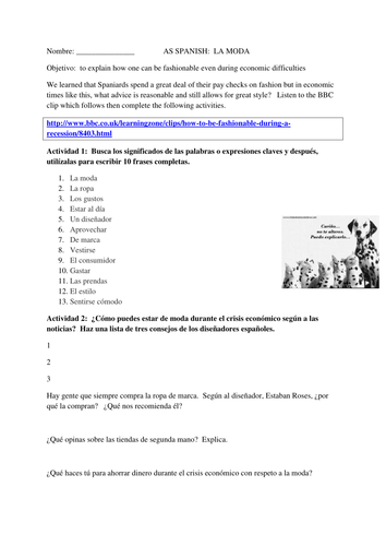 Spanish Clothes & Fashion - La moda by jessfry - Teaching Resources ...