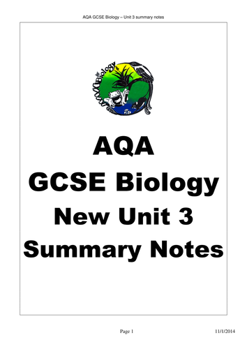 AQA GCSE Biology Unit 3 Revision Notes by bobfrazzle