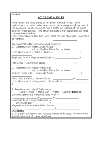 Acids and alkalis worksheet HT by HarrisSchool - Teaching Resources ...