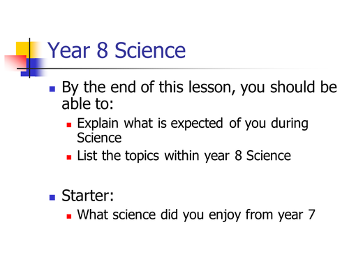 Introduction to science yr HT
