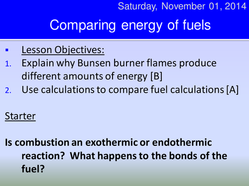 Energy of combustion HT