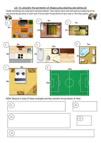 3 differentiated perimeter worksheets for Y4 D2