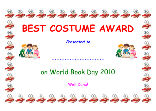 best costume certificate world book day by simon h teaching