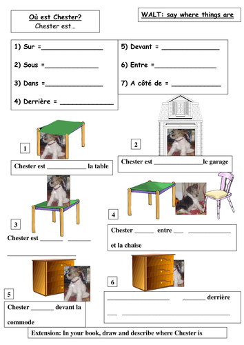 spanish french prepositions donde esta chester by seasidelou teaching resources. Black Bedroom Furniture Sets. Home Design Ideas