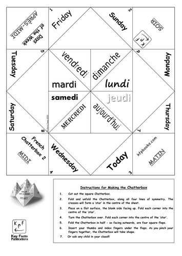 French days of the week chatterbox by chris1962 teaching for How to make a chatterbox template