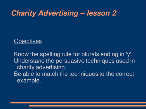 Charity Advertising: Scheme of Work Resources