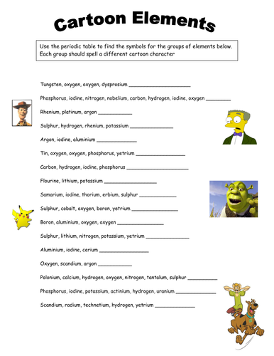 Elements Periodic Table Worksheet By Tamilyn Teaching Resources