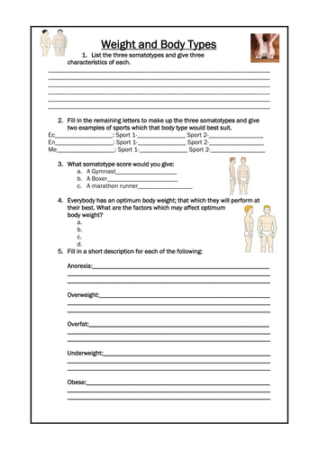 Worksheets Pe Worksheets gcse pe worksheets by sammik teaching resources tes weight and body types revision sheet doc