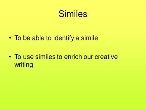 Similes By Ela86 Teaching Resources Tes