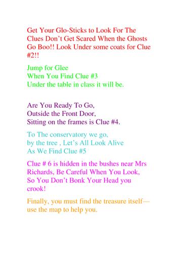 clues for a treasure hunt