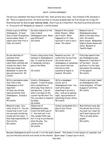 Shakespeare homework Project