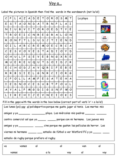 Spanish Places in Town Worksheet