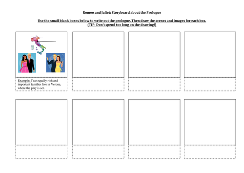 Storyboard of the Prologue Romeo and Juliet by oopsvip – Romeo and Juliet Worksheets