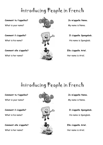 French introductions (me/ you/ him/ her)