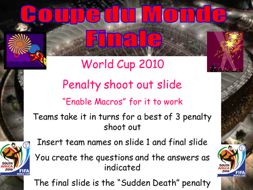 Penalty Shootout Template French Plenary/Starter